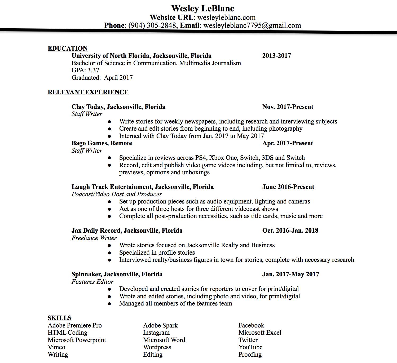 Resume – WESLEY LEBLANC